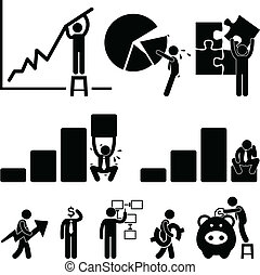 A set of pictograms representing business and finance.