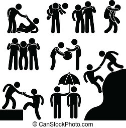 A set of pictogram representing business friend helping each other.