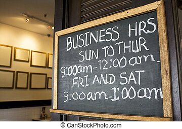 Business Hours Signboard