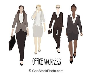 Business-ladies going forward. Vector characters isolated on white background