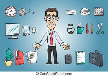 Business man character pack design elements with office stationery supplies vector illustration