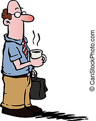 Business man with glasses having a cup of coffee and carrying a suitcase.