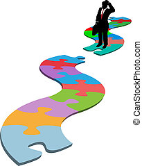 Puzzled business person silhouette find searches for missing piece in jigsaw puzzle path