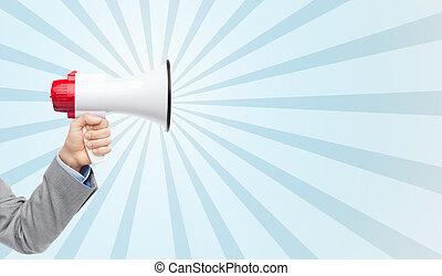 business man hand holding megaphone