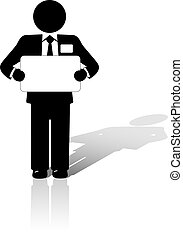 A Business Man in a suit with a name tag holds a blank copyspace meeting sign.