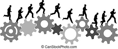 A business man runs in a hurry runs on a set of machine gears. Animation-like sequence of frames.