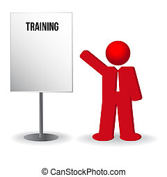business man, person with a flip chart. Training, work, vector format