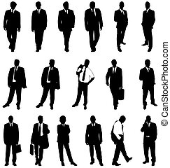 set of businessman silhouettes with high detail