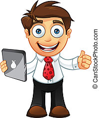 Vector Illustration of a Business man character with a tablet.