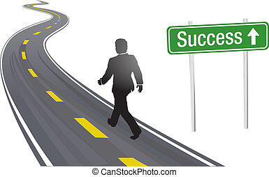 Business person walks past Success sign on winding highway to future progress