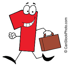 Red Number One Guy Carrying A Briefcase Or Suitcase
