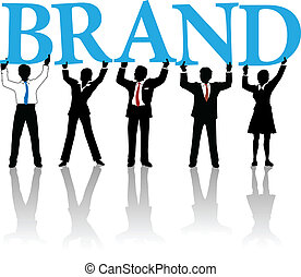 Marketing people team hold up letters cooperate to build Brand identity