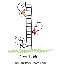 Business people climbing up the corporate ladder. Conceptual illustration of career
