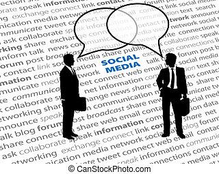 Business people social network text talk bubbles