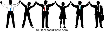 Business people team hold hands up in line