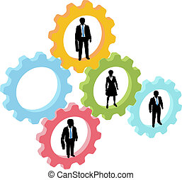 Business people team in technology gears