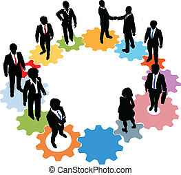 Business people team technology gears
