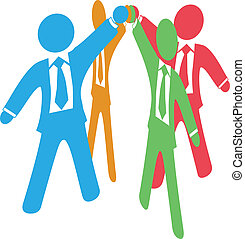 Business people team up work join hands