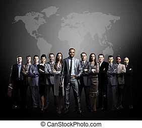 business people team with world ma