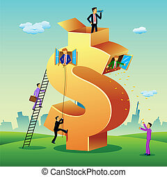 illustration of business people doing different activities in dollar shape building