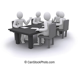 business people working at meeting, sitting at the table 3d illustration