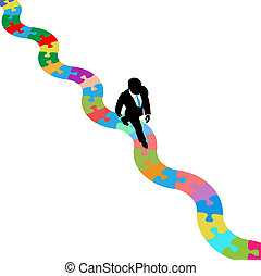 Business person walks on winding path to find a solution to a puzzle problem