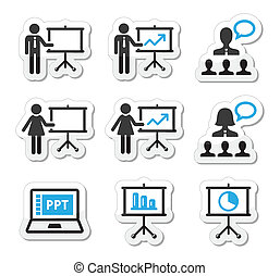 Businessman, businesswoman doing a presentation on whiteboard, in power point labels set isolated on white