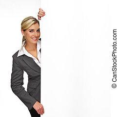 Pretty blonde girl with a blank presentation board
