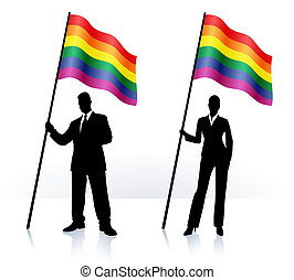 Business silhouettes with waving flag of Gay Pride Original Vector Illustration AI8 compatible