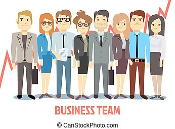 Business team vector concept with man and woman standing together. Teamwork cartoon