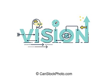 Business Vision word lettering typography design illustration with line icons and ornaments in blue theme