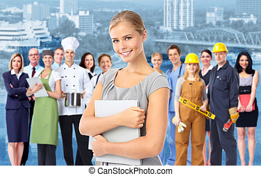 Business woman and a Group of industrial workers.