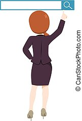 Back view illustration of business woman standing reaching search button concept