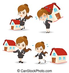 Business woman with home house