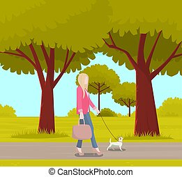 Business woman with small white dog is walking on street. Girl walks with cheerful puppy on leash