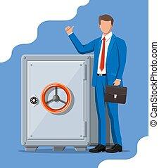 Businessman and metallic safe box
