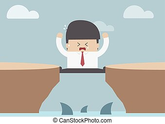 Businessman between the cliff with shark, Business crisis concept, VECTOR, EPS10