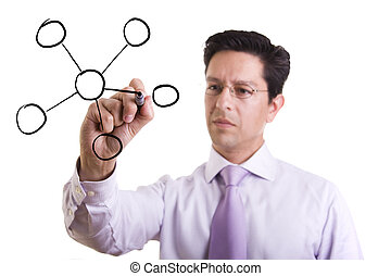 businessman drawing a organization chart in a whiteboard (selective focus)