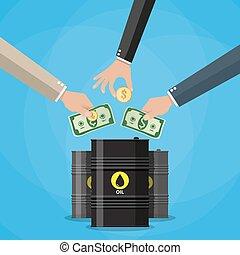 Businessman hand picking up money into oil barrel