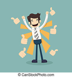 Businessman holding like thumbs up