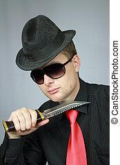businessman in a black shirt