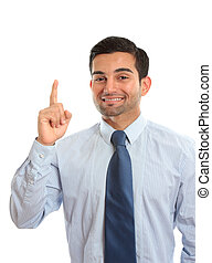 A businessman pointing finger, first, number one, idea, etc. White background.