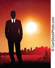 businessman on sunset background