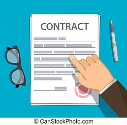 Businessman points a finger at a paper sheet of the contract.