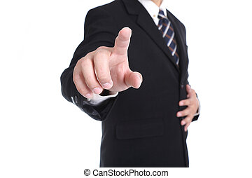 Businessman touching button for order order something