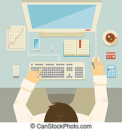 Overhead perspective of a businessman working at his desk using a desktop computer keyboard mouse bank card graph calculator and coffee vector illustration