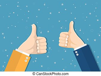 Businessmans hands hold thumbs up.