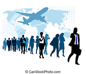 People are walking, flying airplane and world map in the background. The base map is from Central Intelligence Agency Web site.