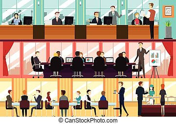 A vector illustration of businesspeople in an office