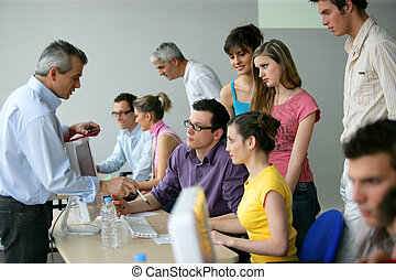 businesspeople on an education training